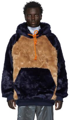 Landlord Navy and Brown Faux-Fur Hoodie