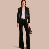 Burberry Cropped Lambskin Military Jacket
