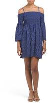 Juniors Smocked Dot Dress