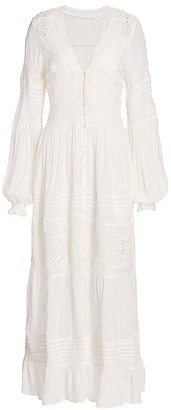 Free People Lisa Lace Eyelet Midi Shirtdress