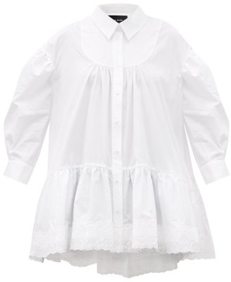 Simone Rocha Scalloped-trim Gathered Cotton Blouse - White