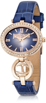 Just Cavalli Just Icon Rose Gold Steel w/Blue Croco Embossed Leather Women's Watch