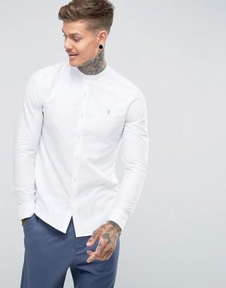 Farah Brewer slim fit grandad collar oxford shirt in white