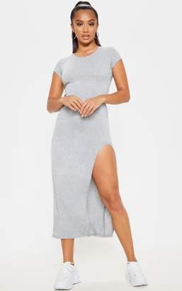 PrettyLittleThing Petite Grey Marl Jersey T Shirt Midi Dress