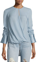 Rag & Bone Max Long-Sleeve Linen Blouse, Blue