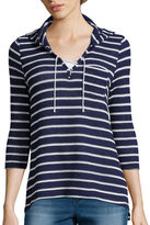 Almost Famous Long-Sleeve Lace-Up Striped Knit Hoodie - Juniors