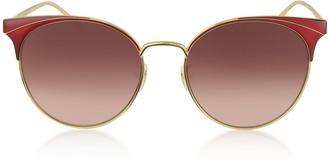 Gucci GG0402SK Shiny Gold Guilloche Metal Frame Sunglasses