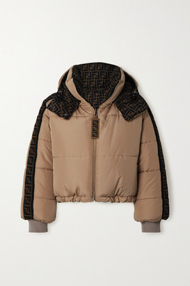 Fendi Oversized Reversible Quilted Printed Shell Down Jacket - Beige