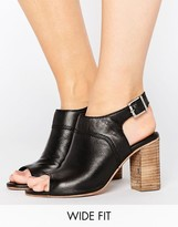 Asos ELDER Wide Fit Leather Peep Toe Shoe Boots