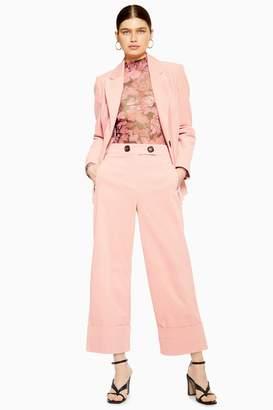 Topshop Pink Corduroy Crop Wide Leg Pants