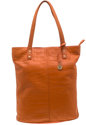 DKNY Orange Croc Embossed Leather Top Zip Tote