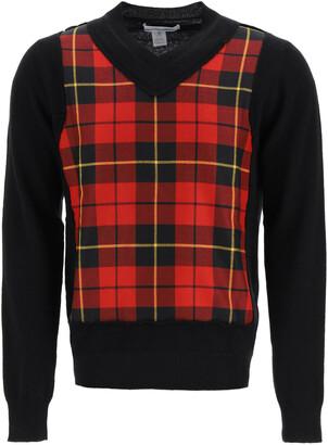 Comme des Garçons Shirt V-NECK CHECKERED SWEATER L Black, Red Wool