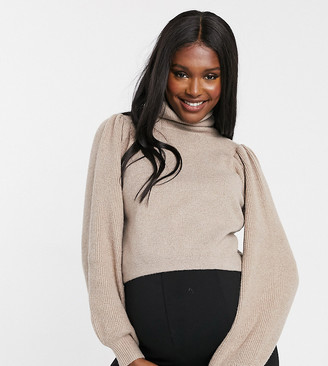 Pieces Maternity sweater with puff sleeves and high neck in camel