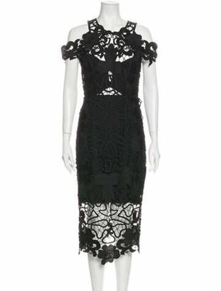 Thurley Lace Pattern Midi Length Dress w/ Tags Black