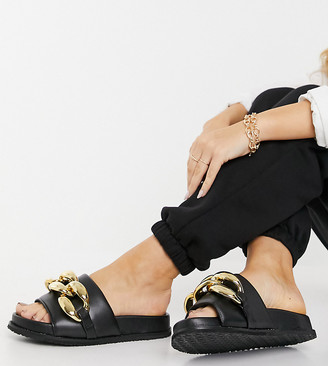 Z Code Z Z_Code_Z Exclusive Mimi slider sandals with chunky chain in black
