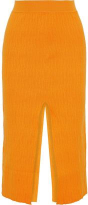 Simon Miller Split Textured Stretch-knit Midi Skirt