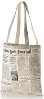 Kate Spade Newspaper Print Canvas Shopping Tote - Black