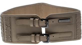Burberry Beige Leather Ruffle Double Buckle Wide Belt 70cm