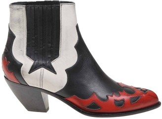 Golden Goose Sunset Flowers Ankle Boots In Leather With Contrasting Finishing