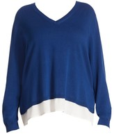 Joan Vass Joan Vass, Plus Size Hi-Lo Sweater