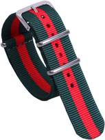 AUTULET Army Green/Red Delicate Preppy Look Men's One-piece NATO style Nylon Perlon Watch Bands Straps