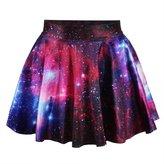 RANOGI DEES Women/Girl's Galaxy Digital Print Stretchy Flared Pleated Casual Mini Skirt