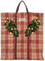Gucci Patched Checked Wool Tote Bag