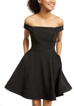 Crystal Doll Juniors' Off-The-Shoulder Fit & Flare Dress
