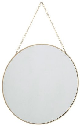 The Find Store - Hanging Round Mirror With Gold Chain