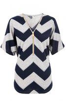 Quiz Grey and Navy Zig Zag Light Knit Zip Front Top