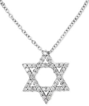 "Effy Diamond Star of David 18"" Pendant Necklace (1/4 ct. t.w.) in 14k White Gold"