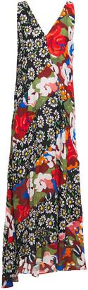M Missoni Asymmetric Patchwork Floral-print Crepe Maxi Dress