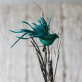Graham and Green Teal Glitter Clip On Bird