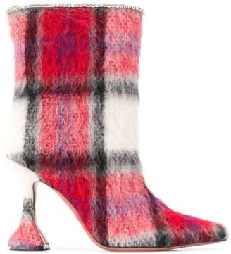 Amina Muaddi textured plaid ankle boots
