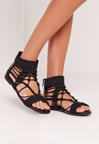 Missguided Origami Rope Flat Sandals Black
