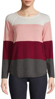 Karen Scott Petite Colourblock Cotton Pullover Sweater