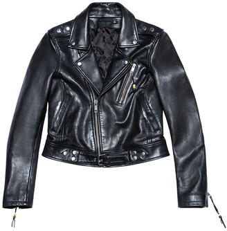 """BLK DNM LEATHER JACKET 1, Black with """"Rose"""" print"""
