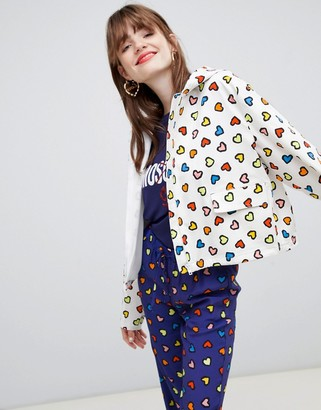 Love Moschino Heart print hooded rain jacket-Blue