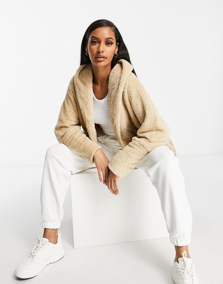 Qed London throw-on soft touch jacket in camel