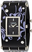 K & Bros Women's 9535-5 Ice-Time Galassia Flower Black and Silver-tone Watch