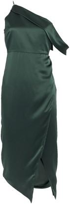 Mason by Michelle Mason One-Shoulder Draped Silk Dress