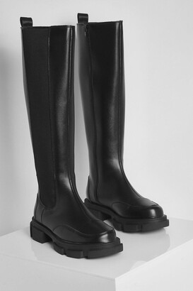 boohoo Wide Fit Chunky Knee High Chelsea Boots