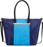 Neiman Marcus Sybil Bar Colorblock Tote Bag, Blue/Navy