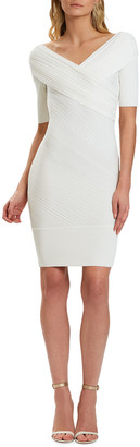 Herve Leger Couture Draped Ribbed Day Dress