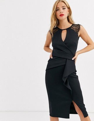 Lipsy eyelash lace midi dress in black
