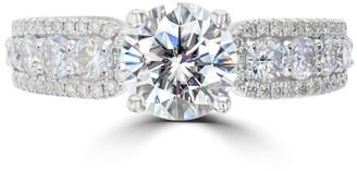 La Vita Vital 2.55ct Vintage Moissanite Engagement Ring 14 Karat White Gold