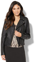 New York & Co. Textured Faux-Leather Moto Jacket