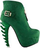 Show Story Punk Buckle High-top Bone High Heel Platform Ankle Boots,LF80620GR39,8US
