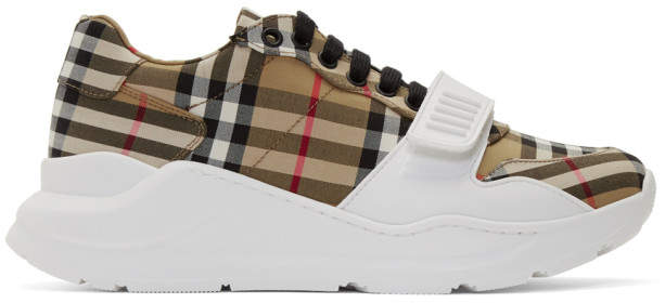 Burberry Beige Check Regis Sneakers