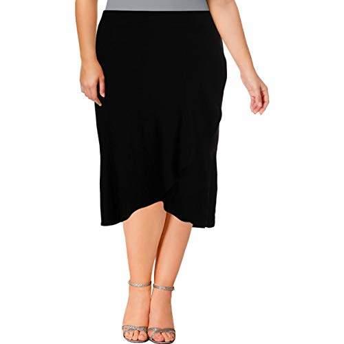 Nine West Women's Size Plus Crepe Asymetrical Ruffle Skirt